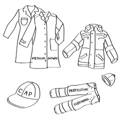 Set of hand drawn workwear doodles isolated on a white background.