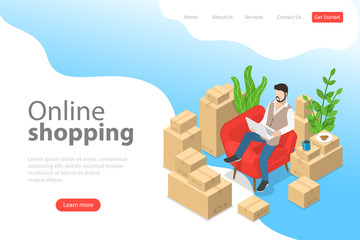 Flat isometric vector landing page template of easy shopping, e-commerce, online store, mobile payment, fast delivery.