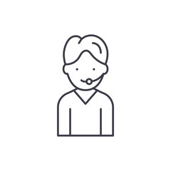 Support line icon concept. Support vector linear illustration, sign, symbol