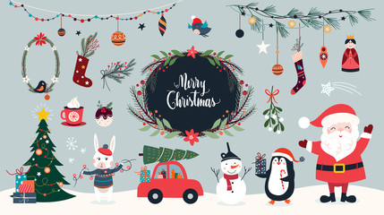 Christmas collection of seasonal elements with Santa and snowman, hand drawn items, vector design