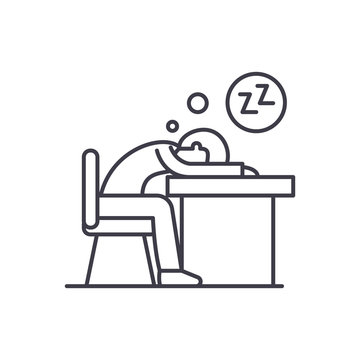 Tired at work line icon concept. Tired at work vector linear illustration, sign, symbol