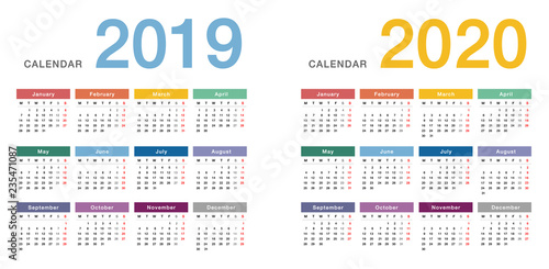 Quot Colorful Year 2019 And Year 2020 Calendar Horizontal