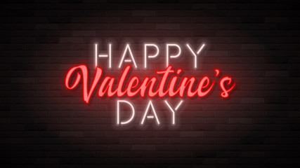 Happy Valentine's Day neon banner template. Color card design with 3d glowing neon letters. Vector illustration with light banner.