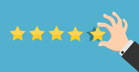 Hand putting five gold stars on blue background. Five stars quality rating icon. Feedbak stars. Hand giving five star rating. Customer review. Feedback concept. Vector stock.