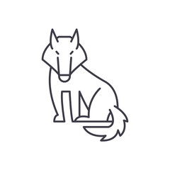 Wolf line icon concept. Wolf vector linear illustration, sign, symbol
