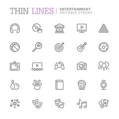 Collection of entertainment related line icons. Vector eps 8