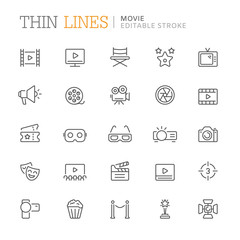 Collection of movie related line icons. Editable stroke