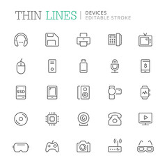 Collection of devices related line icons. Editable stroke