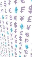Ethereum crystal and currency on a white background. Digital Cryptocurrency symbol. Business concept. Market Display. 3D illustration
