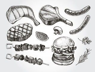 Ink hand drawn set of meat products and grilled dishes. Food elements collection. Vector illustration.