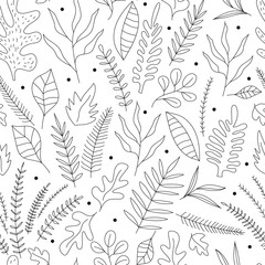 Doodle floral background. Seamless pattern with outline leaves and herbs.