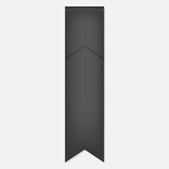 Flag shaped gray bookmark, vector mock-up