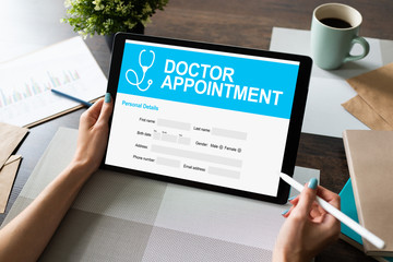 Doctor appointment online on screen. Medical and health care concept.