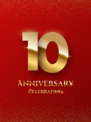 10 years anniversary celebrating design with golden color isolated on red background. Vector design illustrating.