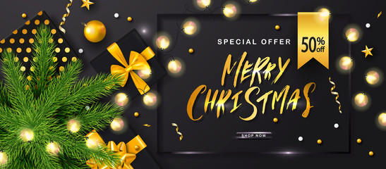 Merry Christmas Sale poster with luminous garlands,gift boxes,Christmas tree and shiny serpentine . Vector illustration. Design for invitation, banners, ads, coupons, promotional material.