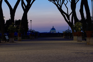 View of St. Peter's Basilica in the Vatican from Aventine Hill