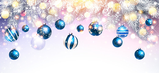 Christmas Decorations with Blue Balls and Fir Branches. Vector