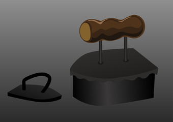 Two old ancient traditional coal iron. Vector illustration