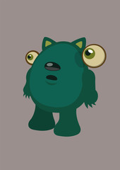 A fantasy cartoon green cat character with floating eyes and egg shaped. Vector illustration