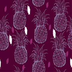 Exotic seamless pattern with silhouettes tropical fruit outline pineapples. Hand drawn and paint repeating background. Abstract print texture