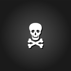 Skull icon flat. Simple White pictogram on black background with shadow. Vector illustration symbol