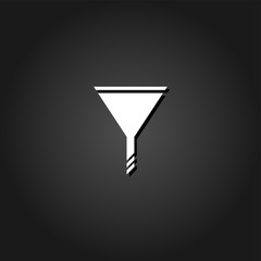 Funnel icon flat. Simple White pictogram on black background with shadow. Vector illustration symbol
