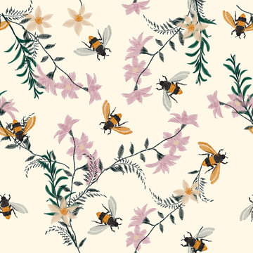 Vintage Embroidery honey bee,with wild flowers  many kind of florals Seamless pattern vector backdrop.