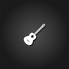 Acoustic guitar icon flat. Simple White pictogram on black background with shadow. Vector illustration symbol