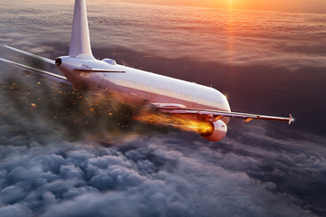 Poster Avion à Moteur Airplane with engine on fire, concept of aerial disaster.