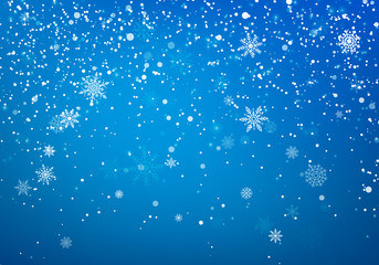 Snowfall Christmas background. Flying snow flakes and stars on winter blue sky background. Winter wite snowflake overlay template. Vector illustration