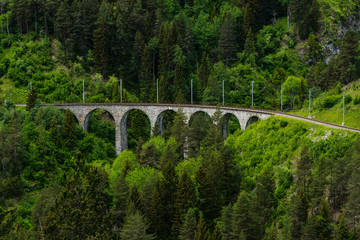 Railway bridge viaduct near Landwasser