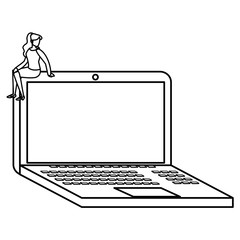 young woman sitting in laptop