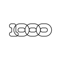One thousand, mono line. Four rounded figures.