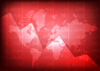 Vector : World map with red stock board
