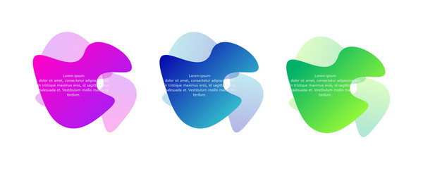 Set of abstract wavy liquid shapes. Fluid gradient design concept. Can be used for logo, business report, social post. Vector illustration.