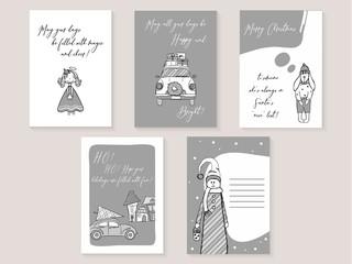 Set of Christmas postcard.