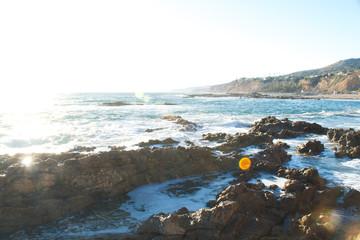 ocean coast bright exposure lens flare