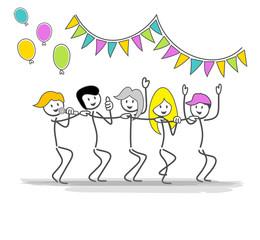 groupe jouyeux danse sur la musique de fête dessin