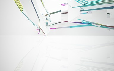 Abstract dynamic interior with colored glass smoth objects. 3D illustration and rendering