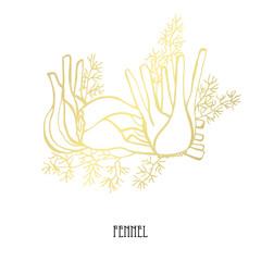 hand drawn golden vegetables