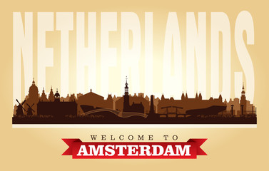 Amsterdam Netherlands city skyline vector silhouette