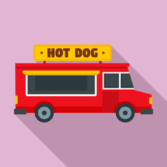 Hot dog truck icon. Flat illustration of hot dog truck vector icon for web design