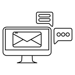 computer with email and speech bubble