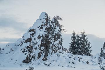 Snow rock in the mountain village of Stadlern, Bavaria, Germany