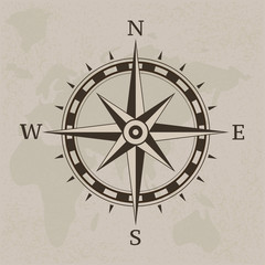 Ancient compass on vintage paper background illustration
