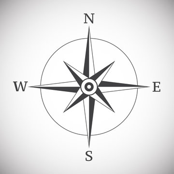 Ancient compass vintage on white background illustration