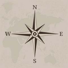 Wind rose compass vintage background illustration