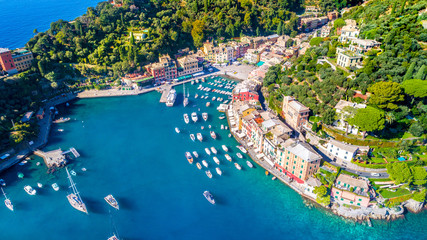 Beautiful sea coast with colorful houses in Portofino, Italy. Summer landscape Wall mural