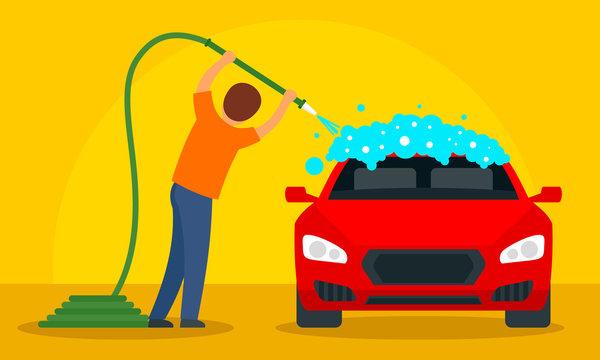 Man wash car concept background. Flat illustration of man wash car vector concept background for web design