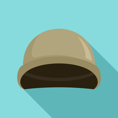 Soldier helmet icon. Flat illustration of soldier helmet vector icon for web design